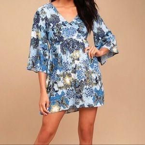 Jack by BB Dakota Blue Bell Sleeve Print Dress